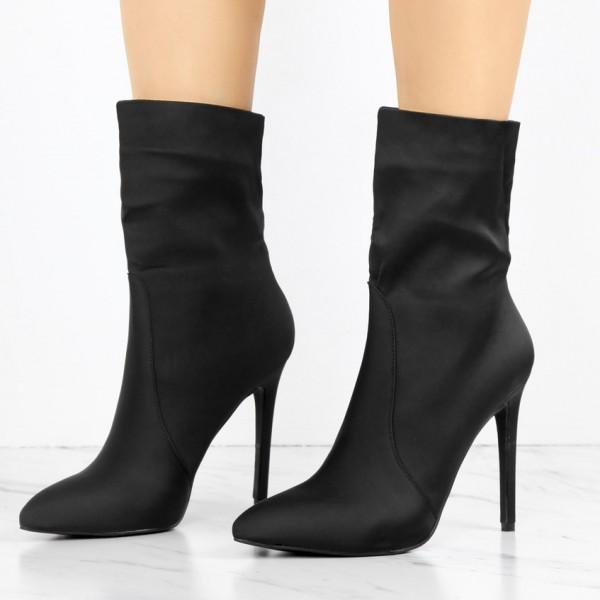 Women's Black 4 Inch Stiletto Heels Fashion Ladies Ankle Boots  image 1