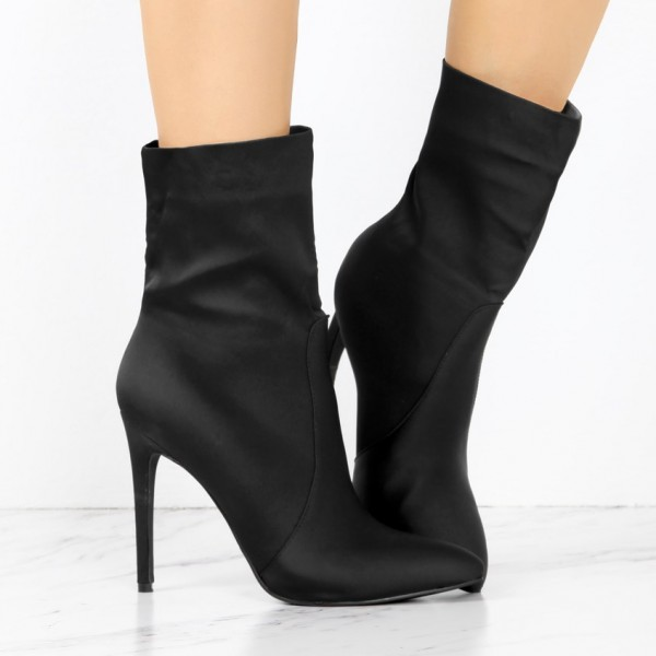 Women's Black 4 Inch Stiletto Heels Fashion Ladies Ankle Boots  image 2