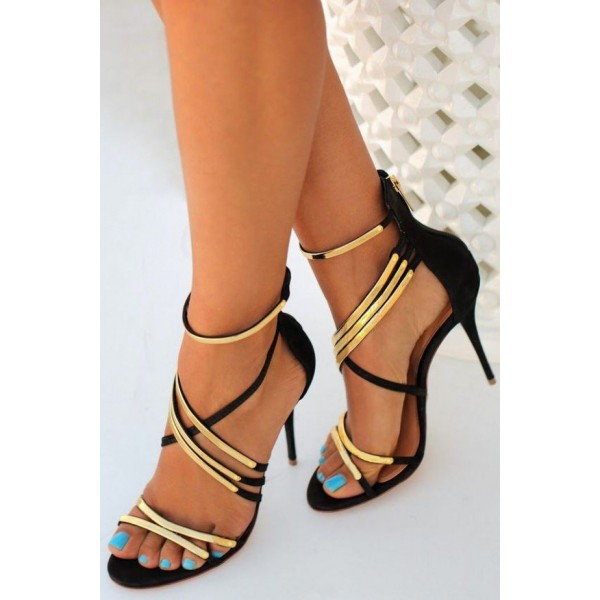 Black With Gold Heels