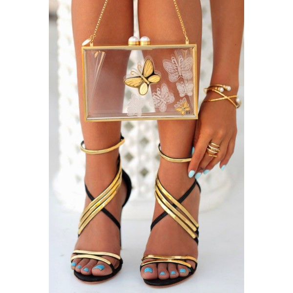 Women's Black And Gold Crossed Upper Strappy Heels Open Toe Sandals image 3