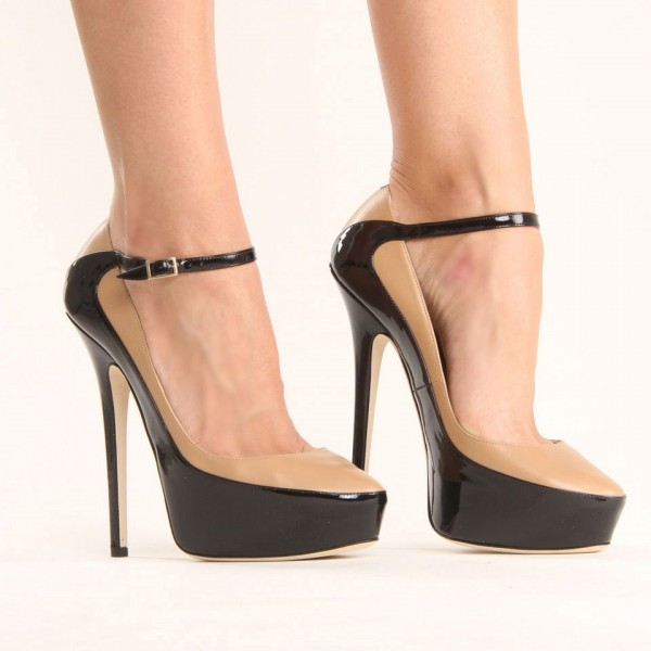 Nude and Black Platform Heels Almond Toe Ankle Strap Pumps image 2