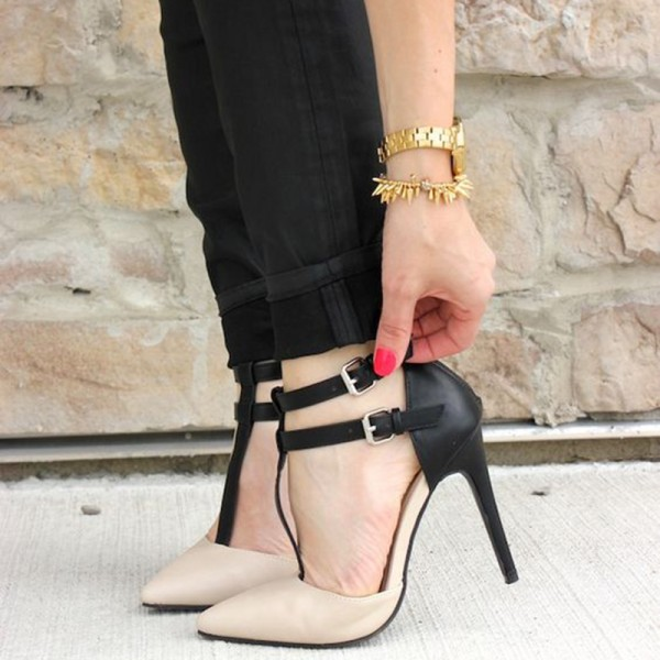 Women's Black and Nude Pointy Toe Agraffe T-Strap Heels Shoes image 1
