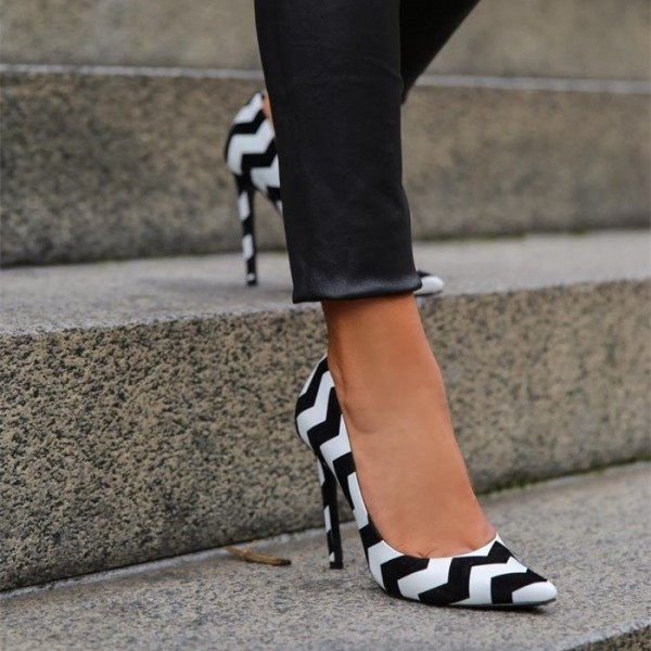 Black and White 4 Inch Heels Pointy Toe Stiletto Heels Office Shoes image 4