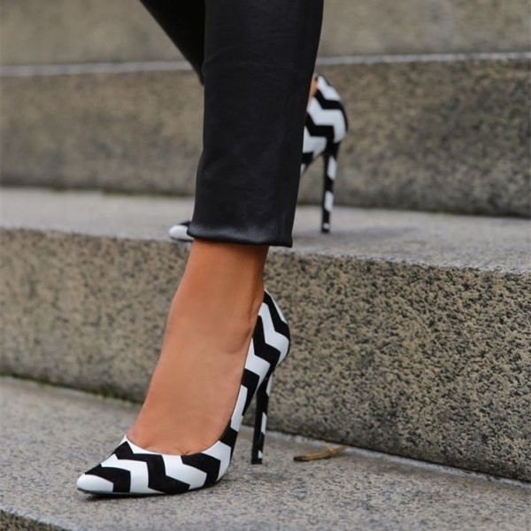Black and White 4 Inch Heels Pointy Toe Stiletto Heels Office Shoes image 1
