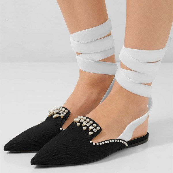 Black Pointy Toe Strappy Flats Rhinestone Mule Loafers for Women image 1