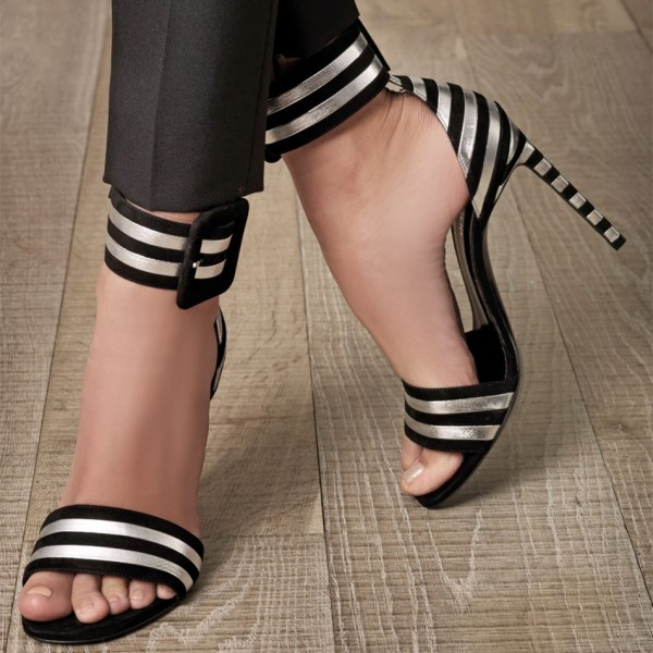 Women's Black and White Stripe Open Toe Ankle Strap Sandals image 1