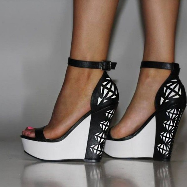 Black And White Wedge Sandals Grid Printed Ankle Strap