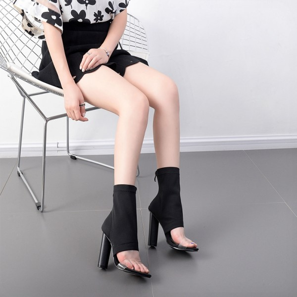 Black and Clear Summer Boots Open Toe Cylindrical Heel Sock Boots image 5