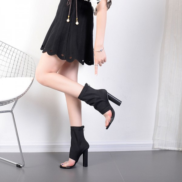 Black and Clear Summer Boots Open Toe Cylindrical Heel Sock Boots image 2