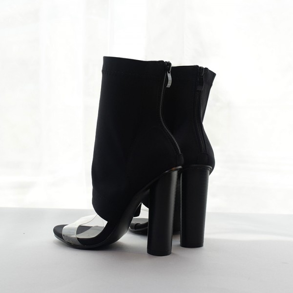 Black and Clear Summer Boots Open Toe Cylindrical Heel Sock Boots image 3