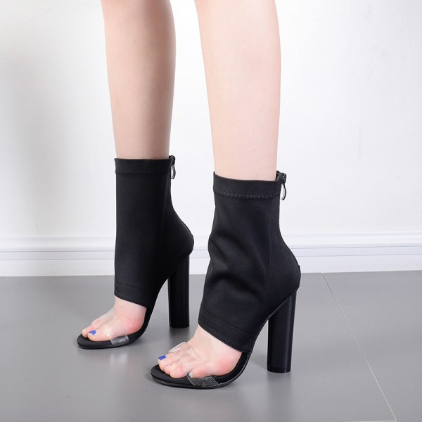 Black and Clear Summer Boots Open Toe Cylindrical Heel Sock Boots image 4