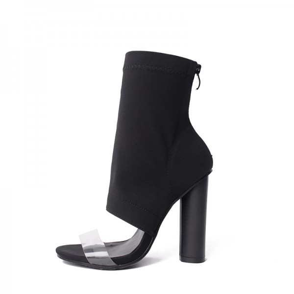 Black and Clear Summer Boots Open Toe Cylindrical Heel Sock Boots image 1