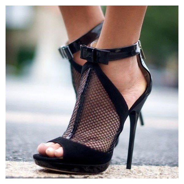 Women's Black Ankle Strap Net Stiletto Heels Peep Toe Sandals image 1