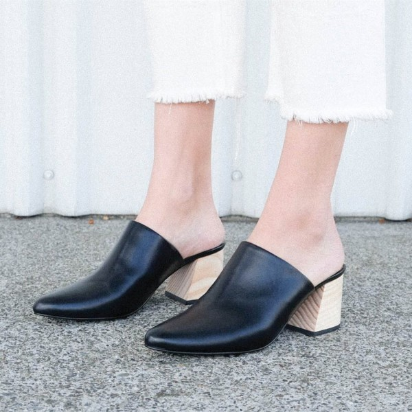 Women's Black Block Heel Sandals Almond Toe Mules image 3