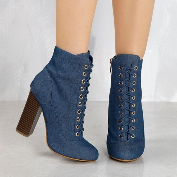Women's Blue Lace Up Denim Boots Pointy Toe Commuting Ankle Boots image 2