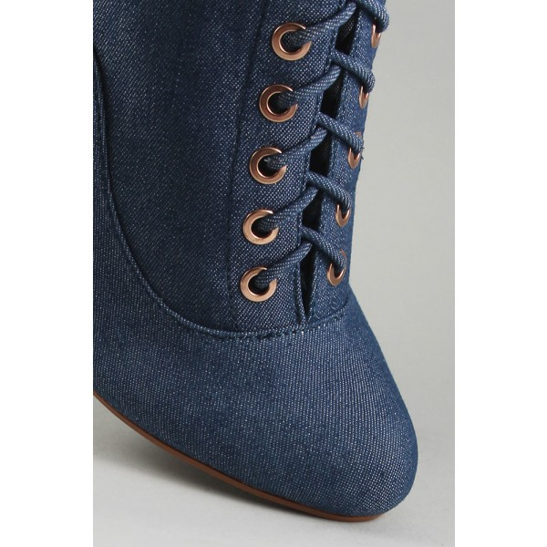 Women's Blue Lace Up Denim Boots Pointy Toe Commuting Ankle Boots image 3