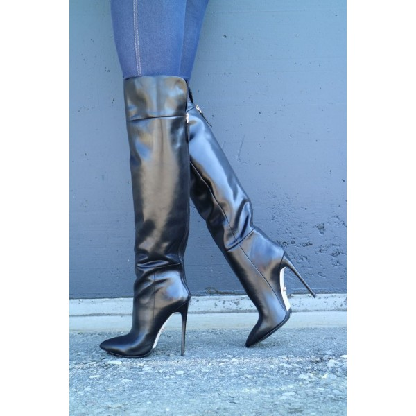 Women's Black Casual Boots Patent Leather Knee-high Fashion Boots  image 5