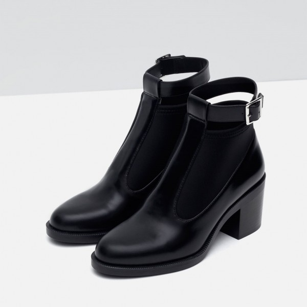 Women's Black Casual Boots Round Toe Buckle Ankle Boots image 1