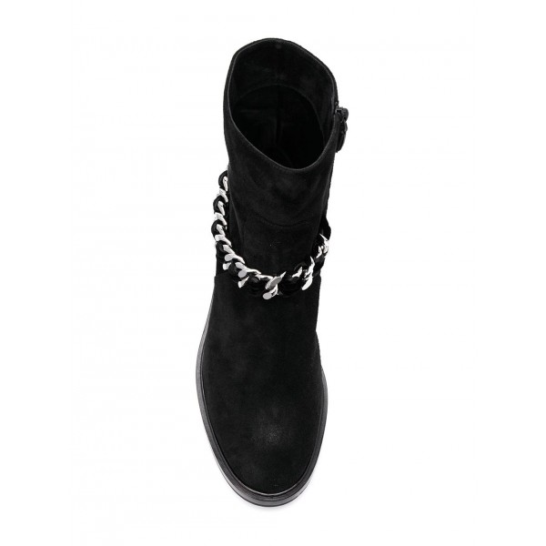 Women's Black Casual Suede Flats Ankle Booties with Chain image 2