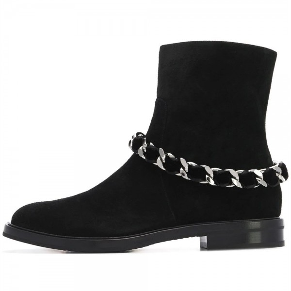 Women's Black Casual Suede Flats Ankle Booties with Chain image 3