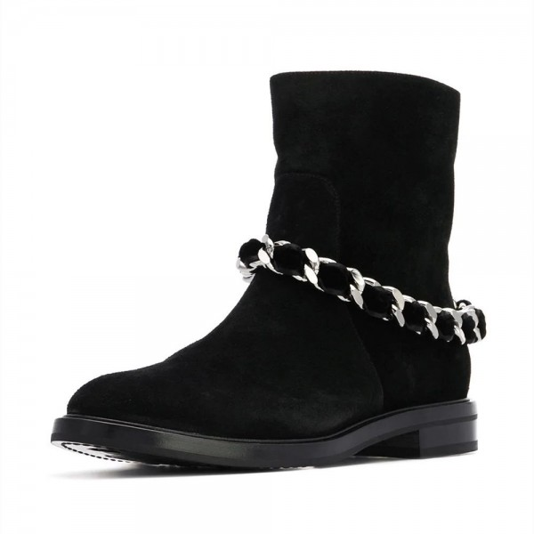 Women's Black Casual Suede Flats Ankle Booties with Chain image 1