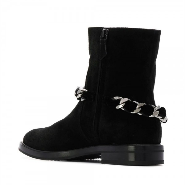Women's Black Casual Suede Flats Ankle Booties with Chain image 4
