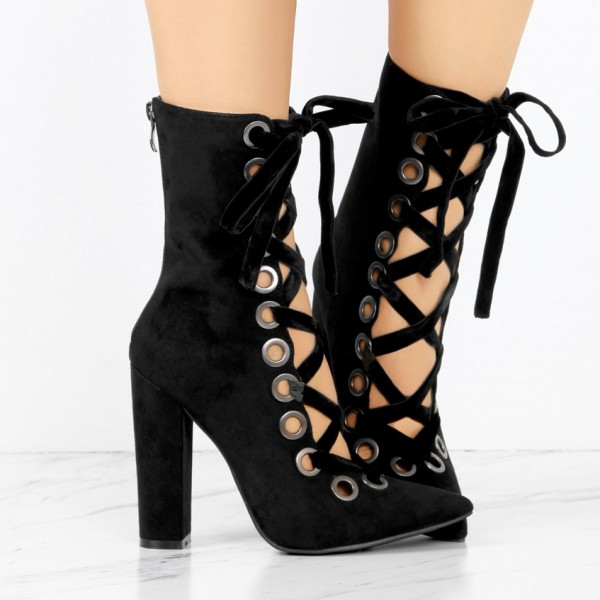 Women's Black Chunky Heels Boots Fashion Lace Up Suede Ankle Boots image 2