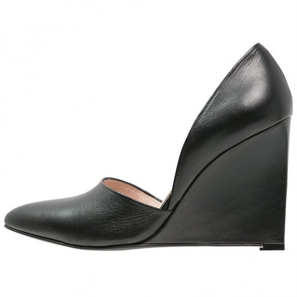 Women S Black Closed Toe Wedges Pumps Office Shoes For Work Formal