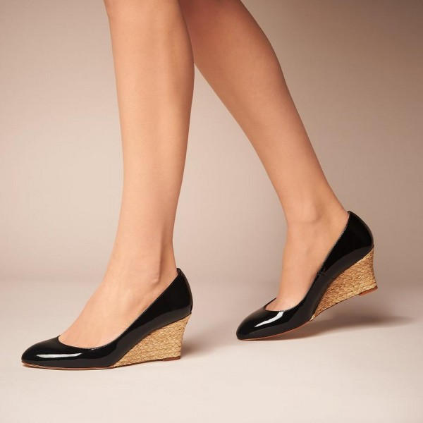 Women's Black Round Toe Wedges Heels Patent Leather Pumps image 1