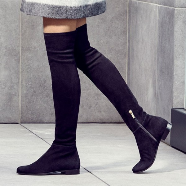 9e8b4828e6371 Black Flat Thigh High Boots Round Toe Suede Long Boots for Work ...