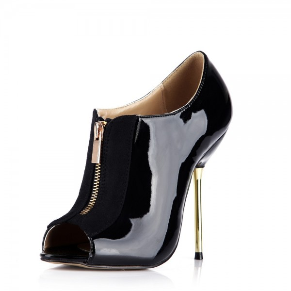 Women's Black Fashion Boots Peep Toe Stiletto Heels Ankle Boots image 1
