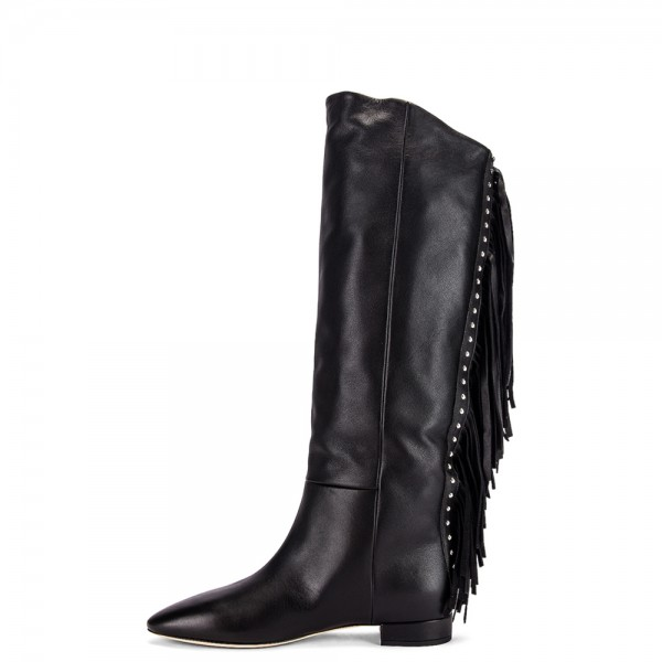 quality best quality exquisite style Women's Black Fashion Boots Pointy Toe Fringe Boots