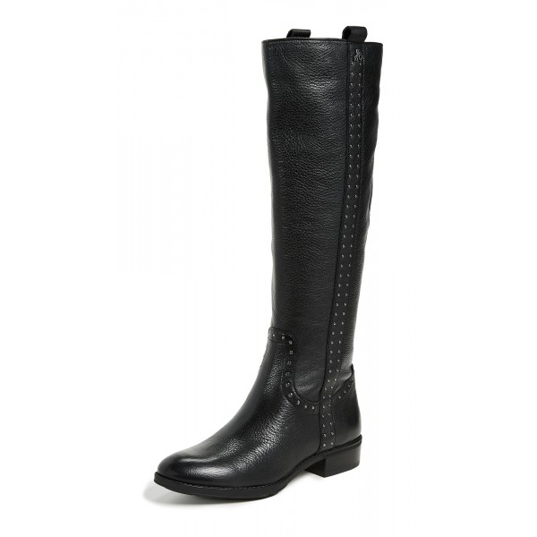 Women's Black Flat Mid-calf Boots Round Toe Long Boots US Size 3-15 image 1