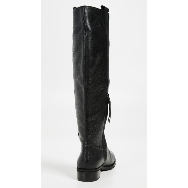 Women's Black Flat Mid-calf Boots Round Toe Long Boots US Size 3-15 image 3