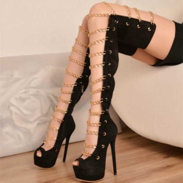 071dd6b0fefc Black Gladiator Heels Peep Toe Thigh High Platform Summer Boots image 1 ...
