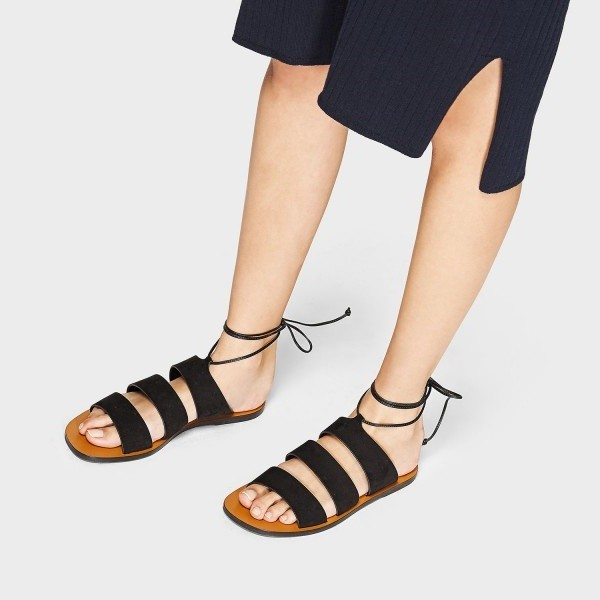 order online lowest price newest Women's Black Gladiator Sandals Comfortable Flats for School, Date ...