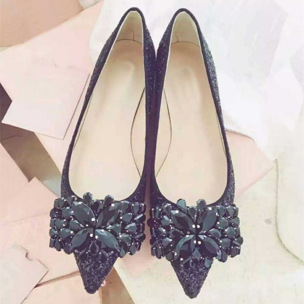 Black Glitter Shoes Rhinestone Pointy Toe Flats image 3