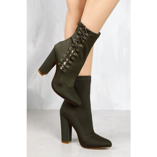 Women's Black Green Lace Up Boots Pointy Toe Ankle Boots Fashion Shoes image 3