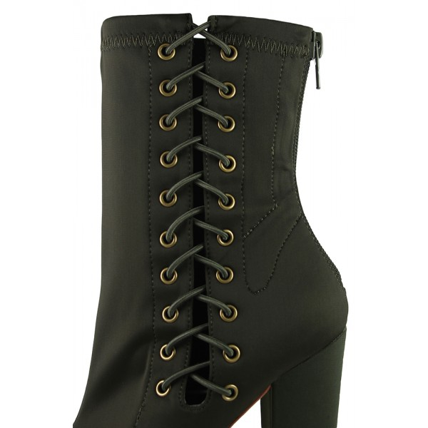 Women's Black Green Lace Up Boots Pointy Toe Ankle Boots Fashion Shoes image 2