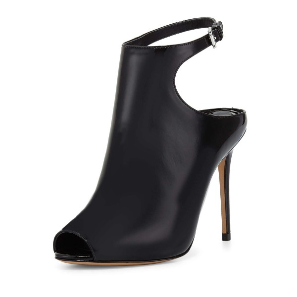 Women's Black Peep Toe Stiletto Heels Slingback Ankle Booties image 1