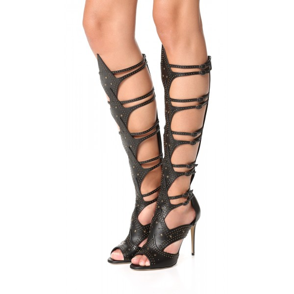 Women's Black Knee-high Stiletto Heel Gladiator Heels Sandals image 1