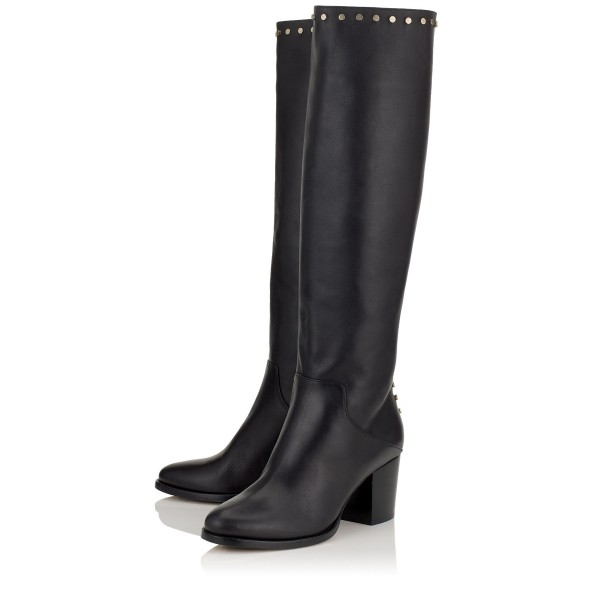 Black Tall Boots Round Toe Block Heel Studs Knee Boots image 1