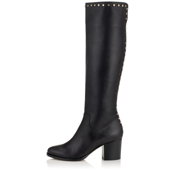 Black Tall Boots Round Toe Block Heel Studs Knee Boots image 2