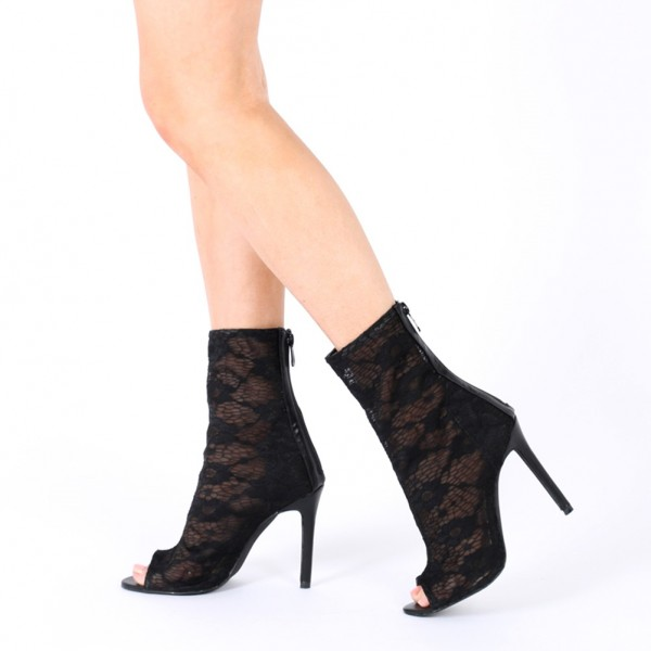 Black Sexy Lace Stiletto Heel Peep Toe Booties US Size 3-15 image 1