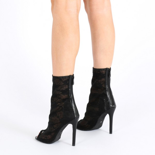 Black Sexy Lace Stiletto Heel Peep Toe Booties US Size 3-15 image 3