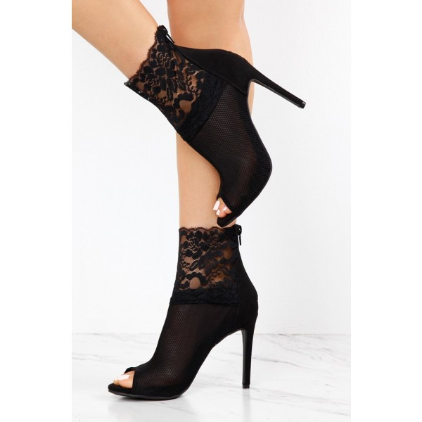 Women's Black Lace Floral Stiletto Heels Peep Toe Ankle Booties image 2