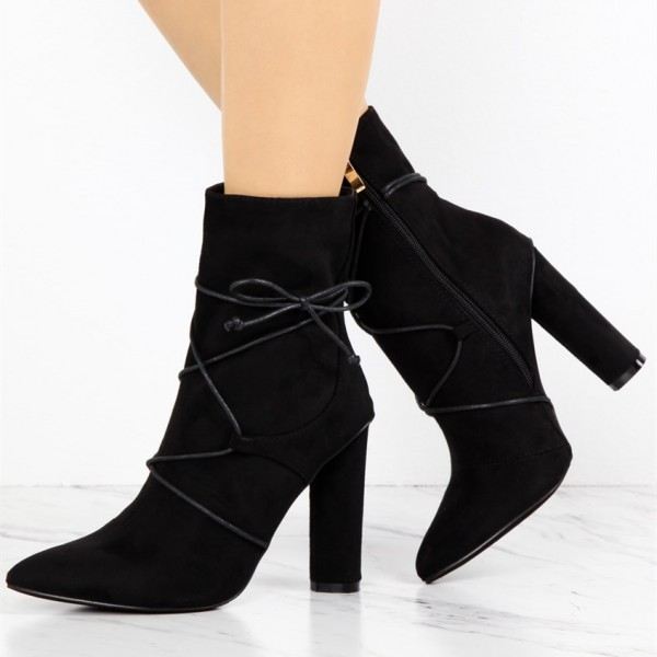 Women's Black Lace Up Boots Fashion Suede Chunky Heels Ankle Boots image 1