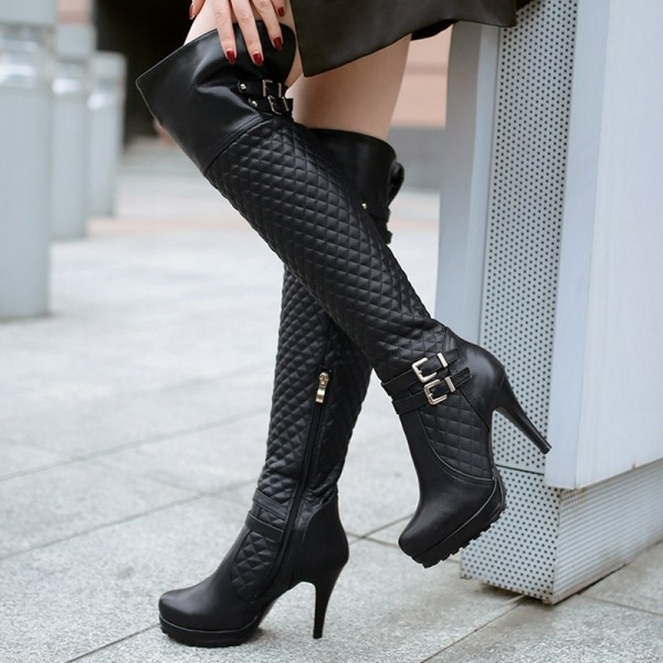 Women's Black Long Boots Platform Boots Buckle Over-knee Boots image 1