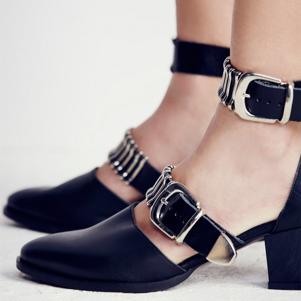 Black Ankle Strap Block Heels Almond Toe Pumps with Buckles image 2