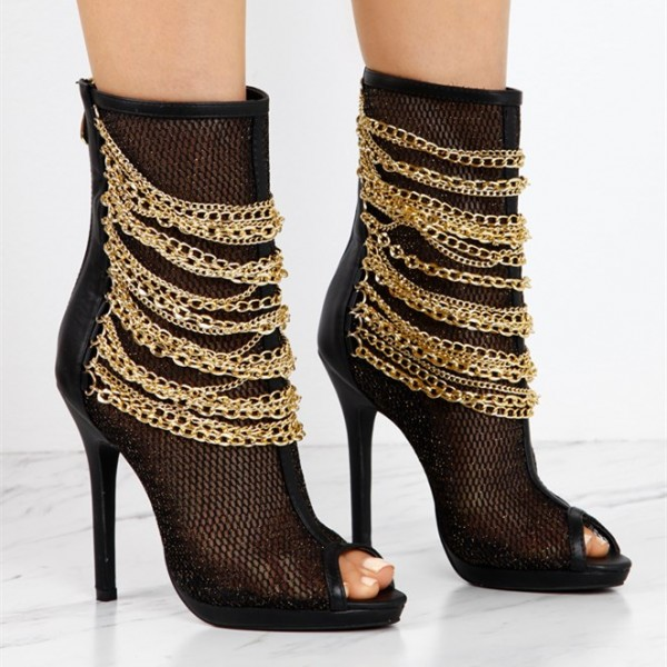 Women's Black Mesh Fashion Boots Metal Chain Stiletto Heel Ankle Boots image 2
